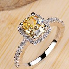 Yellow 6 1 Carat Princess Cut Engagement Wedding Rings For Women Super Flash Simulated Diamond Silver bague femme Valentines Day Gift