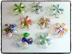 fleurs en plastique, bouteille en plastique, printemps, décorer son jardin, bricolage enfant