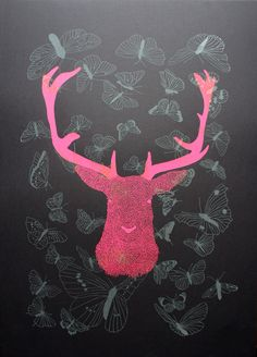 Deer with butterflies - affiche Kencre
