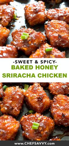 This Asian Inspired Sweet And Spicy Baked Honey Sriracha Chicken Takes Less Than 30 Minutes To Make And Is So Much Better Than Take-Out Add Rice To Make It The Perfect, Quick And Easy Weeknight Meal, Without The Extra Sodium And Calories Honey Sriracha Chicken, Sweet And Spicy Chicken, Spicy Chicken Recipes, Oven Baked Chicken, Fried Chicken, Healthy Chicken Meals, Tandoori Chicken, Sriracha Recipes, Tilapia Recipes