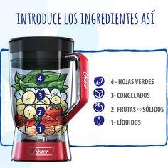 El orden de los ingredientes en tus licuados y jugos con tu Licuadora Oster® Xpert Series™ debe ser así