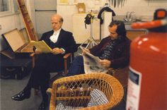 Actors Jack Nicholson and Philip Stone relax on the Kitchen set of The Shining.