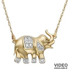 YellOra Diamond Accent Elephant Link Necklace ($50) ❤ liked on Polyvore featuring jewelry, necklaces, white, white necklace, charm necklace, white jewelry, 24k jewelry and 24 karat gold necklace