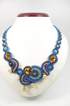Soutache bluegold necklace. por SoftAmethyst en Etsy