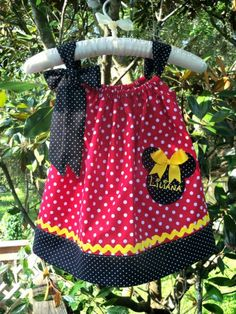 #OM2 Minnie Mouse Pillow Case Dress-Red & Black by PoshBabyStore.com