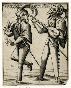 Caricature of two men with masks and feathered hats, one with a sword is dancing, and the other plays a lute  Etching