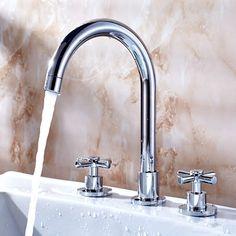 Classic Brass Bathroom Sink Tap Widespread T0772
