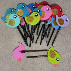 Monster cupcake toppers, Monster Bash cake toppers, Monster Bash birthday, Little Monster baby shower, rainbow monster cupcake toppers Kids Crafts, Foam Crafts, Craft Stick Crafts, Diy And Crafts, Arts And Crafts, Paper Crafts, Pencil Topper Crafts, Pencil Crafts, Pen Toppers