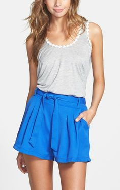 Easy, breezy, bright blue shorts.