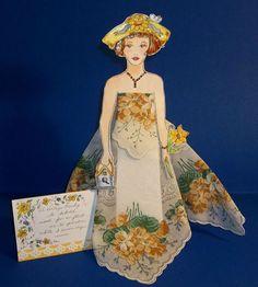 "Handcrafted 11 25"" Paper Doll ""Emma"" w Vintage Hankie by Jane Marie | eBay"