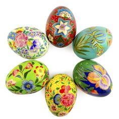 6 Vibrant Flowers Wooden Pysanky Easter Eggs