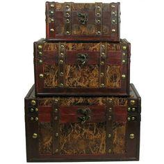 Brown Leather & Wood Veneer Box Set from Hobby Lobby. Illke the tustic aged look.