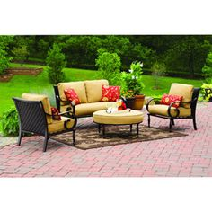 """Better Homes and Gardens Englewood Heights 4-Piece Patio Conversation Set, Seats 4. Bright and cheery yellow. Plus great brickwork on """"floor!"""
