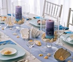 beach themed bridal shower table or under the sea party theme