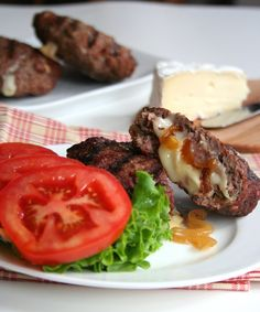 Brie and Caramelized Onion Stuffed Burgers     Shared on https://www.facebook.com/LowCarbZen