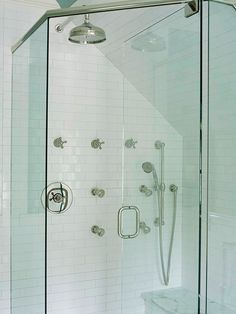 Yikes-neo angle shower with an angled wall-Note that your grout joints will not line up on the angled wall with the rear flat walls, its a math thing.  If this bothers you you can switch to a different shape of tile for that angled wall (ie a 4x4 or 6x6 installed on the diagonal as a solution).