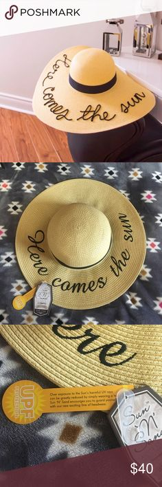 HP NWT Here Comes The Sun Straw Hat Super cute, brand new with tags. sun n' sand Accessories Hats