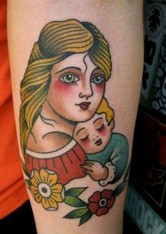 Mother and child tattoo - like the retro/sailor jerry look of the mom and baby