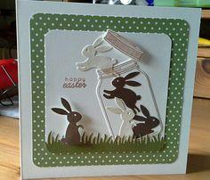card critters bunny bunnies Easter mason jar grass border IO Impression Obsession bunny set - Karte Ostern Hasen - kort påske hare kanin kaniner