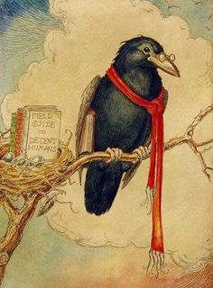 Charles Van Sandwyk (Canadian artist born - Crow w/ Field Guide to Decent Humans Crow Art, Raven Art, Bird Art, Art And Illustration, Vintage Bird Illustration, Quoth The Raven, Jackdaw, Photo D Art, Crows Ravens