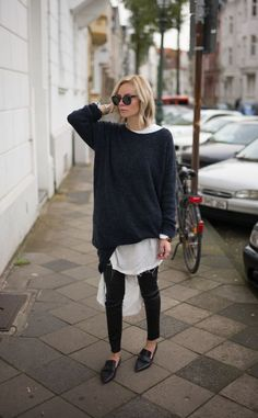 Tendance Chaussures 2017/ 2018 : Oversized Sweater and a White Blouse | Loafers | Street Style | Winter Layers | ...