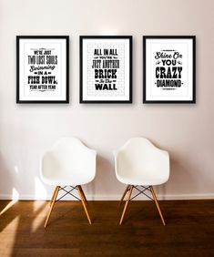 Pink Floyd inspired typographic print set. This typographical print set would make a great addition to any music lovers home. The print set
