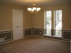 Dining Room Paint Colors With Chair Rail painted living rooms two- toned brown |  paint ideas, home