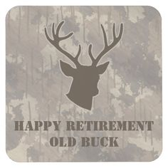 Funny Hunting Animal Antlers Camo Brown Retirement Square Paper Coaster  This coaster features a buck head 2374535d2062