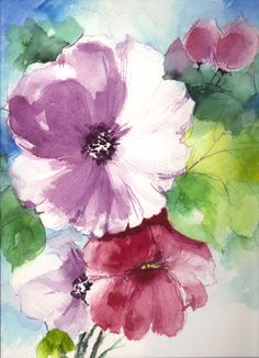 Floral Abstract Water Color Painting 9x12 WCF052420131311