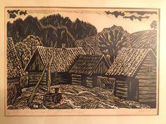 """Super! Linoollõige! """"Talu Valgamaal""""! Maret Olvet! 1970a! (67659057) - Osta.ee Graphic Prints, Painting, Art, Art Background, Painting Art, Kunst, Paintings, Performing Arts, Painted Canvas"""