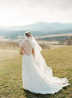 OMG beautiful gown: http://www.stylemepretty.com/virginia-weddings/north-garden-virginia/2015/04/07/elegant-winter-wedding-at-pippin-hill-vineyard/   Photography: Jen Fairello -http://jenfariello.com/