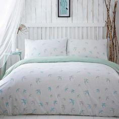 Debenhams White swallow 'Flight' pattern bed linen- at Debenhams.com