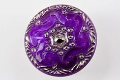 B0886H - Czech Glass Button - H/painted Purple - (1) - $8.80