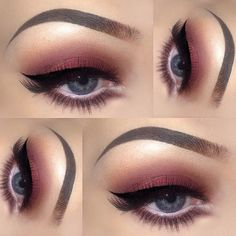 the most amazing #cranberry red smokey #eye with black winged liner | #makeup @amberhirschx3_mua