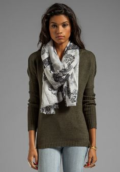 BY MALENE BIRGER Printed Wool Ybano Scarf in Milk at Revolve Clothing - Free Shipping!