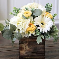 Summer florals  in a rustic wood box.