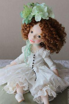 Купить Vita - белый, салатовый, серый, кукла ручной работы, кукла, кукла в подарок