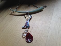 shell necklace with dentallium abalone red by HandmadeByValerieK