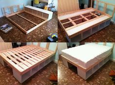 diy solution turn two sturdy bookshelves on their sides and use them - Bookshelf Bed Frame