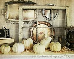 Fall pumpkin vignette, with old windows and trays. Fall Mantel Decorations, Decoration Table, Thanksgiving Decorations, Seasonal Decor, Holiday Decor, Mantel Ideas, Halloween Decorations, Halloween Garland, Halloween Displays