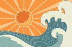 Retro Vintage Surf Wallpaper Mural | Hovia