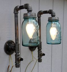 Plumbing Pipe Industrial Steampunk Wall Sconces Mason Jar Wall