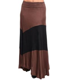 Take a look at this Brown & Black Thick Stripe Maxi Skirt - Women by Ami Sanzuri on #zulily today!