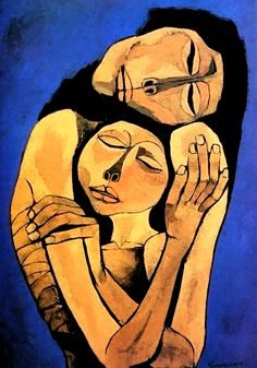 by Oswaldo Guayasamin Quito, Ecuador) or 'Mother & Child' Art And Illustration, Arte Inspo, Modern Art, Contemporary Art, Learn Art, Fine Art, Portrait Art, Figurative Art, Art Drawings