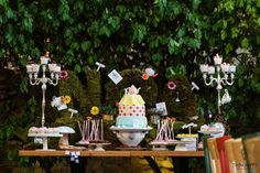 Alice in Wonderland birthday party! See more party ideas at CatchMyParty.com!