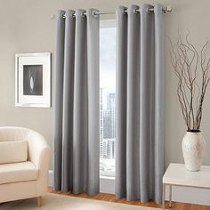 The attractive Majestic Room Darkening Lined Grommet Window Curtain Panel includes a lining to help block unwanted exterior light. The panel features a faux silk fabric and hangs with stylish grommets. Panels fit up to a diameter rod. Privacy Curtains, Kids Curtains, Cool Curtains, Grey Curtains, Room Darkening Curtains, Blackout Curtains, Window Curtains, Home Decor Online, Bedding Shop