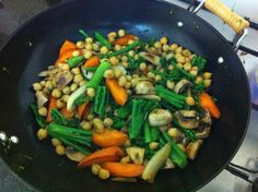 Stir fry of fresh vegetables, cooked with garlic, olive oil, honey and a dash of soy!