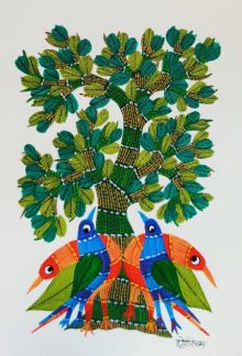 Birds Under The Tree 2 traditional art by Choti Gond Artist | ArtZolo.com