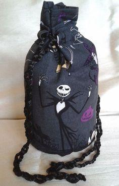 Jack Skellington, Nightmare Before Christmas, drawstring bag, handbag, purse, UK by DexyAndTheWolf on Etsy