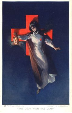 An illustration of a Red Cross nurse portrayed as modern day Florence Nightingale, Pictures of Nursing: The Zwerdling Postcard Collection. National Library of Medicine Cross Pictures, Vintage Pictures, Nightingale Tattoo, Vintage Posters, Vintage Art, Lamp Tattoo, Nurse Art, Dark Beauty Magazine, Florence Nightingale